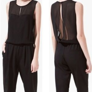 ZARA - JUMPSUIT WITH SHEER TOP size Small